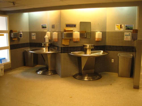 Hand washing station outside of the Galley