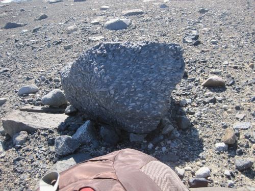 A kenyte boulder found near Lake Fryxell.  The boulder likely comes from Mt. Erebus, on Ross Island.