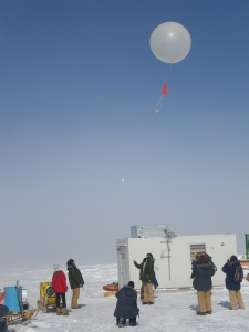 Launching a weather balloon for the ICECAPS project