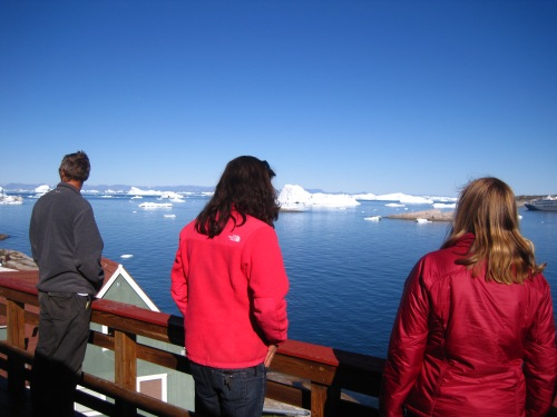 Taking in the view from the hotel's balcony.  By this point, we agreed with Kristin completely: Ilulissat was incredible.