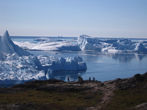 Cohort 4 soaks in the beauty of the icebergs during our first day in Ilulissat.