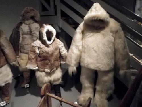 Polar explorer outfits made of polar bear and other furs