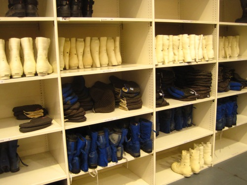Cubbies full of Bunny Boots, the big white boots we're required to wear on all flights.