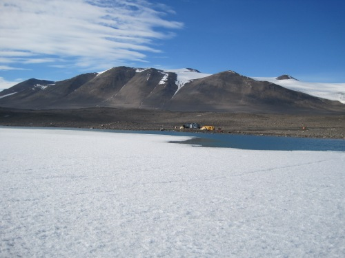 Lake Fryxell, covered in ice even in the height of summer. What will happen to the lakes in a warmer world?