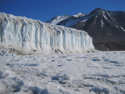 Glaciers flow down into the Dry Valleys, ending in cliffs of ice. How will the glaciers change in a warming world?