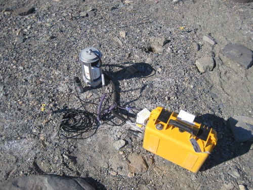We use an instrument called a Li-Cor to measure soil respiration. We put an air-tight chamber down on the soil and measure how much carbon dioxide builds up over a short period of time.