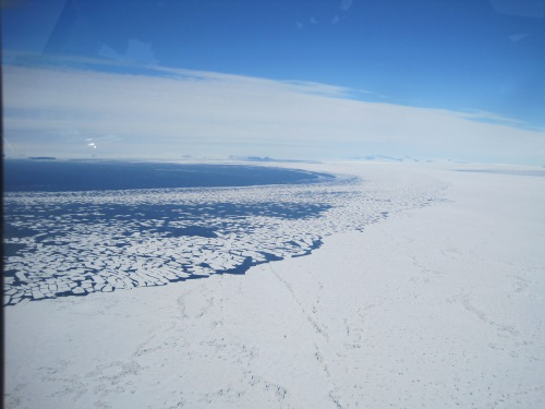 The sea ice near Ross Island is all broken up.