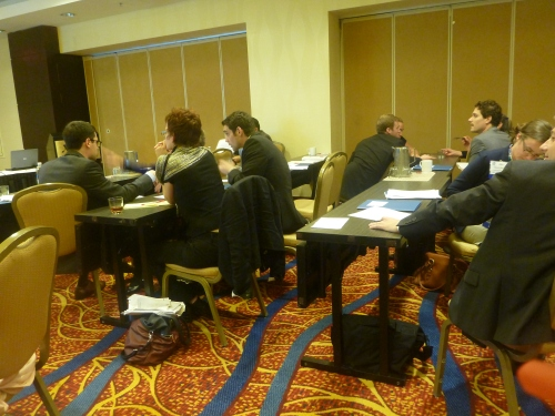 """Senator"" groups discussing how to interpret and respond to proposed amendments. [photo courtesy Julia Bradley-Cook]"