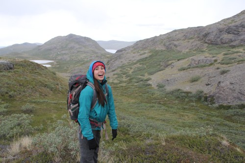 It hailed on Phoebe's first day of fieldwork! She didn't seem to be too upset about it.