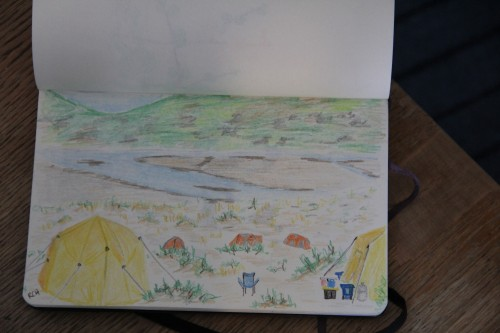 The big new tent at camp required a new sketch. What luxury!