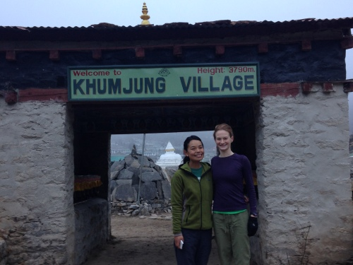 Standing at the entrance to Khumjung Village with Sonam Futi Sherpa, the only other female member of the field team. Sonam is a second year masters student in glaciology at Kathmandu University. Khumjung is her home town; we're staying in the lodge her parents own and run.