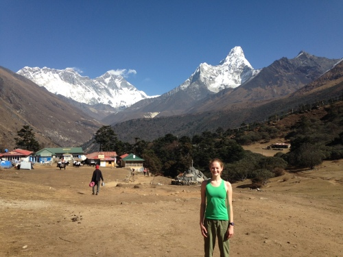 Me at our first view of Everest (on the left!)