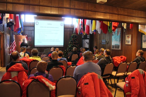 Our first briefing in McMurdo, immediately after landing on the ice. From that moment since, safety has been our primary concern.