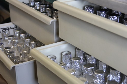 Drawers and drawers of clean glassware, eagerly awaiting samples.