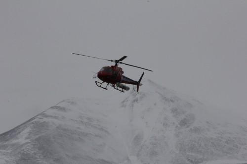 An AStar approaches F6 Camp after a few days of snowy weather prevented all helicopter travel in the valley.