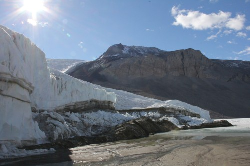 The majority of the liquid water in the Dry Valleys comes from melting glaciers. Here, Taylor Glacier drips in the beaming sun.