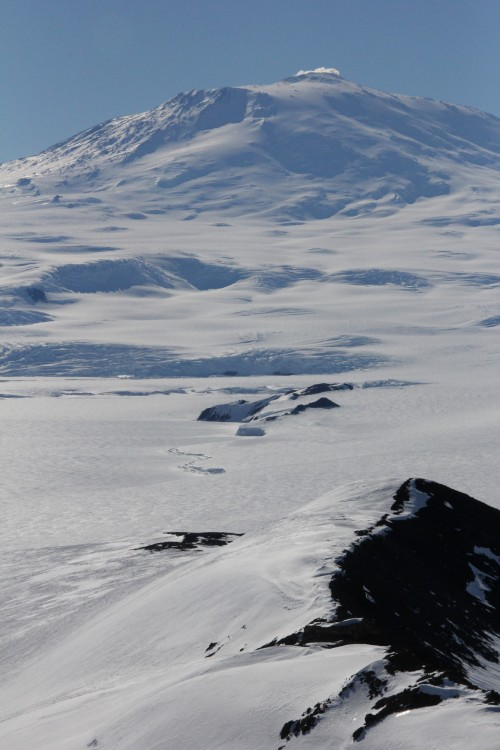 Distances and elevations can be very deceiving in Antarctica. Mount Erebus, the southernmost active volcano, seems so close to McMurdo. In reality, it's almost 30 miles away and is 12,500 feet tall! I would never guess that by looking at this photo!